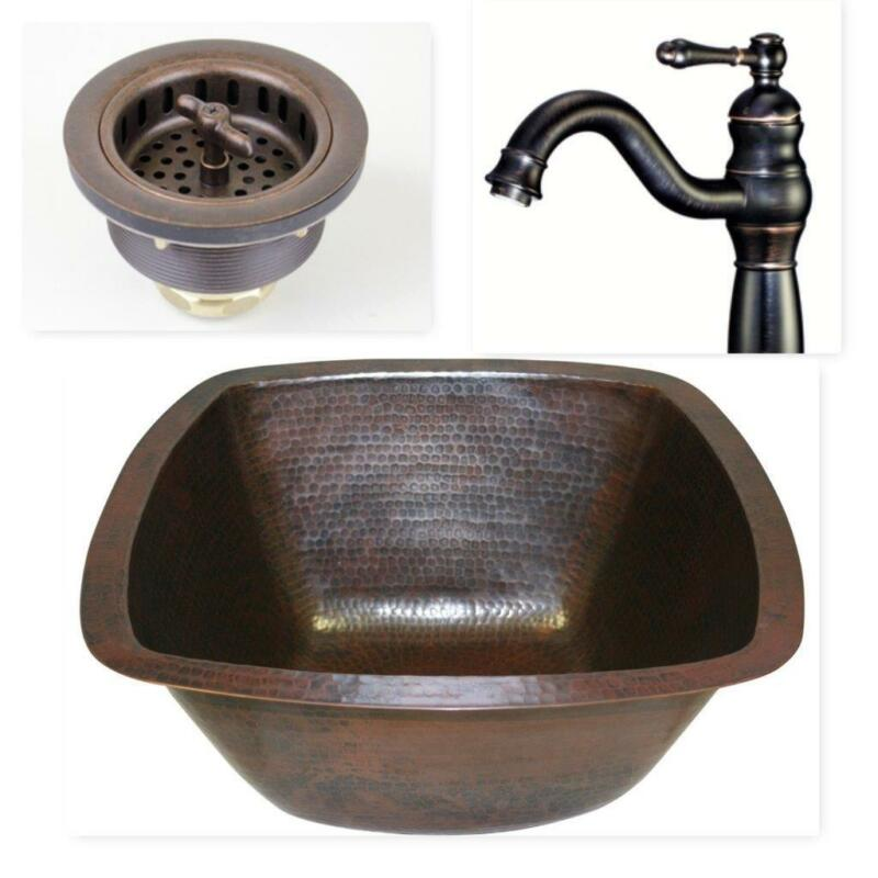 $249.95 • Buy 15  Square Copper Bar Prep Sink With 3.5  Strainer Drain And ORB Faucet