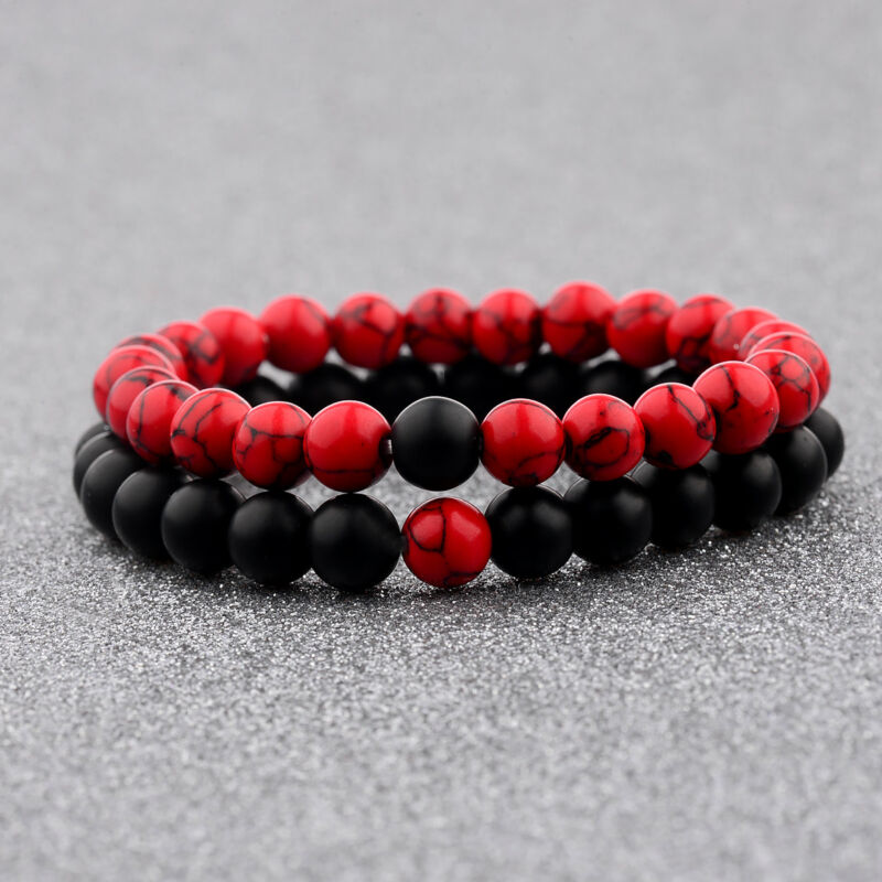 $4.99 • Buy Couple His & Hers Distance Healing Bracelet Black Red Lava Bead Matching YinYang