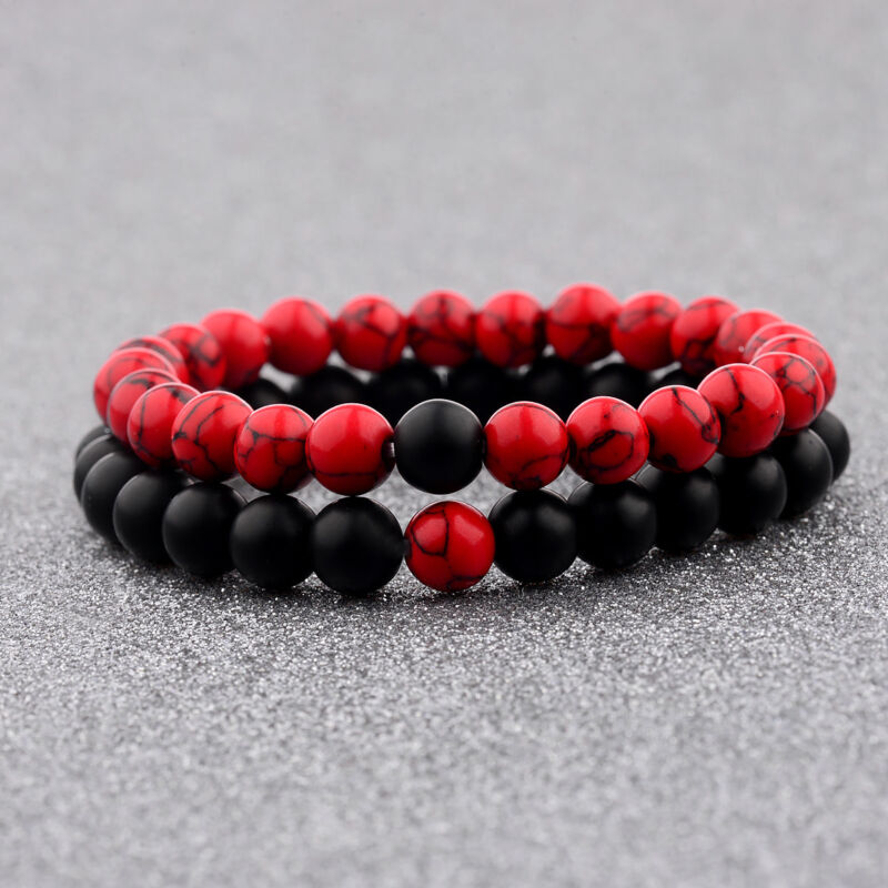 Couple His & Hers Distance Healing Bracelet Black Red Lava Bead Matching YinYang • 4.99$