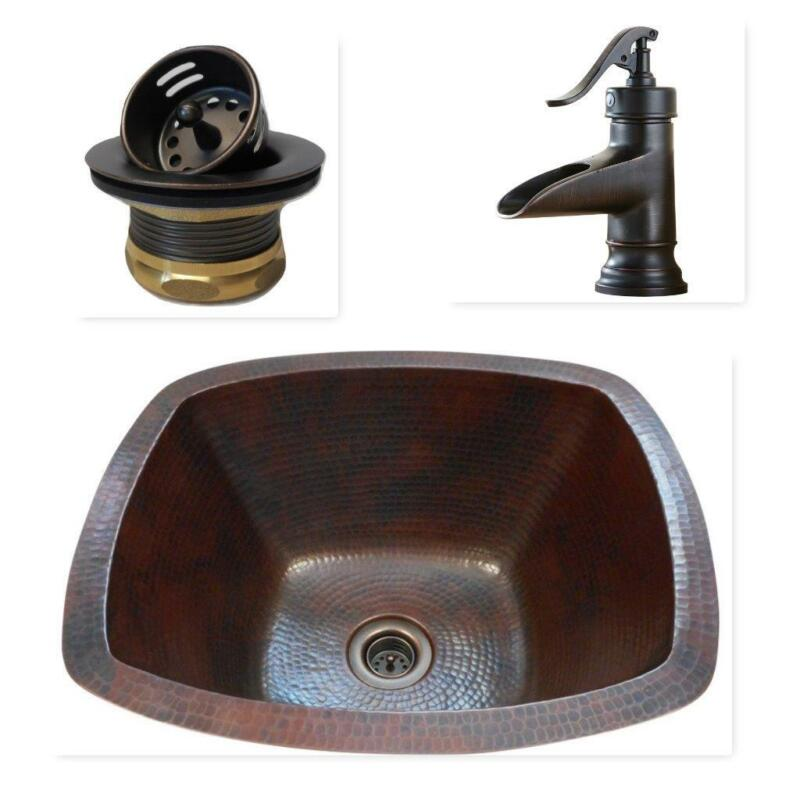 $239.95 • Buy 16  Rectangular Copper Bar Prep Sink With 2  Mini Strainer Drain And ORB Faucet