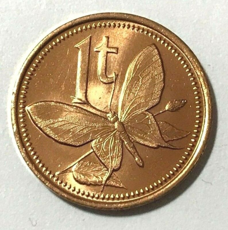 Papua New Guinea 1 Toea, Butterfly, Insect Animal Wildlife Coin • 1.20$