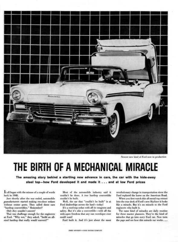 $9.50 • Buy 1957 Ford Retractable  Advertisement  8 X 10 Giclee Print
