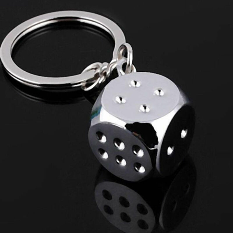 Creative Dice Key Chain Holder Ring Keyring Metal Alloy Car Keychain Gift Silver • 0.99$
