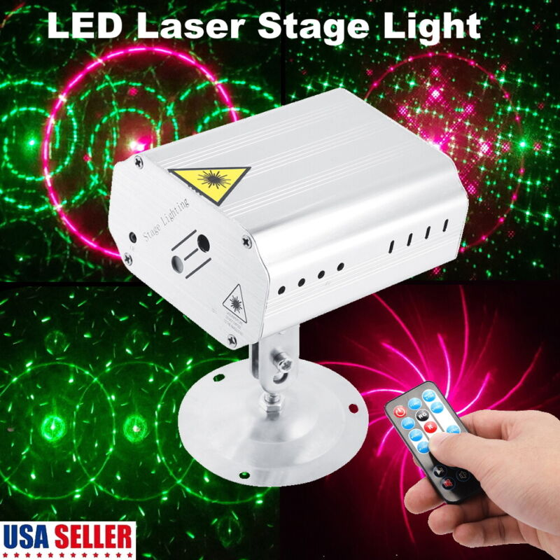 Pattern Laser Projector Stage Lights Mini LED R&G Lighting Party Disco DJ+Remote • 18.59$