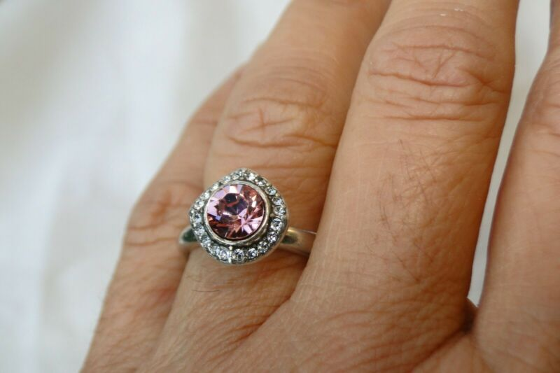 New Authentic Brighton Romantica Silver & Pink Crystal Ring Size 9  • 19.90$