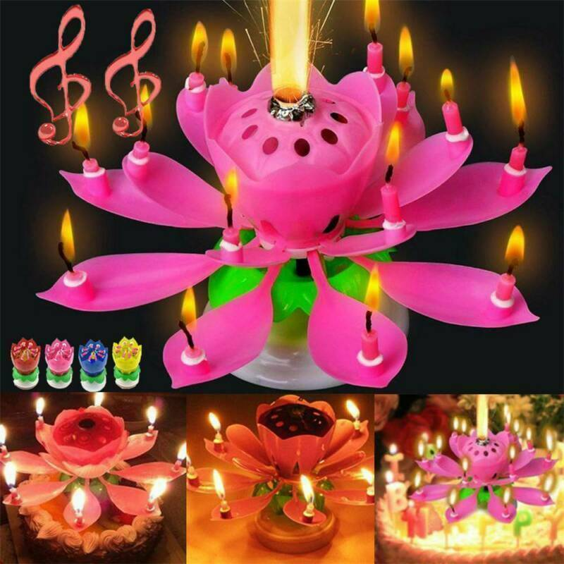 $ CDN3.22 • Buy Magic Cake Birthday Lotus Flower Candle Decoration Gift Blossom Musical Rotating